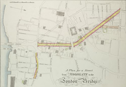 A Plan for a Street from MOORGATE to the London Bridge